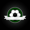 Football emblem and logo for with ribbon for your text Royalty Free Stock Images