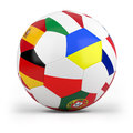 Football with european flags Stock Photo
