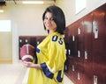 Football Fan in the Locker Room Royalty Free Stock Photo