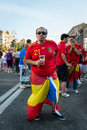 Football fan ready to go to match kiev ukraine jul spanish drink beer on the central fun zone before euro final spain vs italy on Royalty Free Stock Image