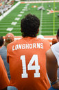 Football fan watching a game of texas longhorns college in austin tx texas longhorns vs osu from oklahoma november Royalty Free Stock Photo