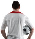 Football fan in white holding ball on background Royalty Free Stock Image