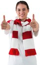 Football fan in white wearing scarf showing thumbs up on background Stock Photos