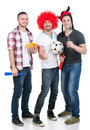 Football fans portrait of three with soccer ball and vuvuzela Stock Image