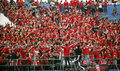 Football fans are providing support to the team in the city of solo central java indonesia Stock Images