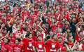 Football fans are providing support to the team in the city of solo central java indonesia Royalty Free Stock Images