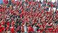 Football fans are providing support to the team in the city of solo central java indonesia Royalty Free Stock Photo