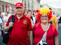Football fans ready to go to match kiev ukraine jul couple of mature spanish euro final spain vs italy on july in kiev ukraine Stock Image