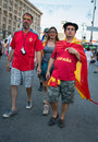 Football fans ready to go to match kiev ukraine jul spanish euro final spain vs italy on july in kiev ukraine Stock Photography