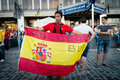 Football fans ready to go to match kiev ukraine jul spanish fan with the flag goes euro final spain vs italy on july in kiev Stock Images