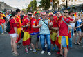 Football fans ready to go to match kiev ukraine jul spanish are photographed before euro final spain vs italy on july in kiev Royalty Free Stock Photo