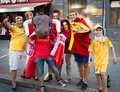 Football fans ready to go to match kiev ukraine jul spanish are photographed with ukrainian before euro final spain vs italy on Royalty Free Stock Photo