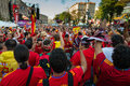 Football fans ready to go to match kiev ukraine jul spanish prepare on the central fun zone for euro final spain vs italy on july Stock Photo