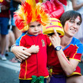 Football fans ready to go to match kiev ukraine jul unhappy spanish fan kid is photographed before euro final spain vs italy on Royalty Free Stock Photo