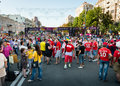 Football fans ready to go to match kiev ukraine jul walk on the central fun zone before euro final spain vs italy on july in kiev Stock Image