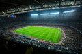 Football field and audience at stadium nou camp barcelona spain november above view during game between fc fc bate borisov Royalty Free Stock Photo