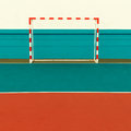 Football Field, Football gates. minimal style Royalty Free Stock Photo