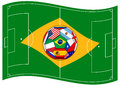 Football field looks like brazil flag with ball vector illustration of the Stock Image