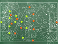 Football field with markings coaching setting for the game Royalty Free Stock Photos