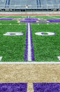 Football field on 50 yard line Royalty Free Stock Photo