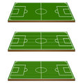 Football Fields 3D Perspective 1 Stock Photos