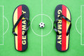 Football flip flops Stock Images
