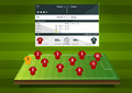 Football formation or soccer match statistics infographic. Flat design. Vector Illustration.