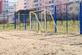 Football gate sporting ground on territory of school in city moscow Royalty Free Stock Image