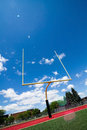 Football goal post beautiful summer day Stock Images