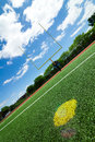 Football goal post beautiful summer day Stock Photos