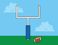 Football goal post in field with Stock Image