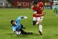 Football goalkeeper saves a goal Royalty Free Stock Photo