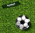Football green grass background Vector. Realistic 3d ball detailed illustrations