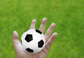 Football in hand with grass Royalty Free Stock Photo