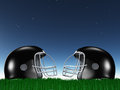 Football helmet composition under starry sky Royalty Free Stock Image