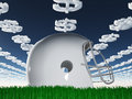 Football helmet on grass with dollar symbol clouds Royalty Free Stock Images