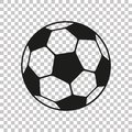 Football icon in flat style. Vector Soccer ball on transparent background . Sport object for you design projects Royalty Free Stock Photo