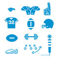 Football icons collection a of simplified american specific illustrated this set include essential equipment such as a Stock Photography
