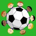 Soccer ball and kids soccer team