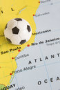 Football on map of brazil to show rio fifa world cup tourna as location for soccer Royalty Free Stock Photos