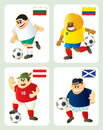 Football mascots BUL COL AUT SCO Stock Photography
