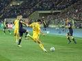 Football match national sweden teams ukraine 图库摄影