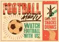 Football Menu typographic vintage grunge style poster. Retro vector illustration.