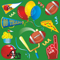 Football Party Clip Art Icons Stock Photography