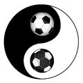 Football philosophy football yin yan symbol of harmony and balance Royalty Free Stock Photo