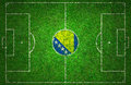 Football pitch with bosnia and herzegovina flag Royalty Free Stock Images