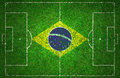 Football pitch with brazil flag Stock Photos