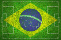 Football pitch with brazil flag Stock Photo