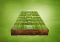 Football pitch a floating green field sports concept Royalty Free Stock Images