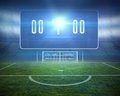 Football pitch with goalpost and scoreboard digitally generated Royalty Free Stock Photography